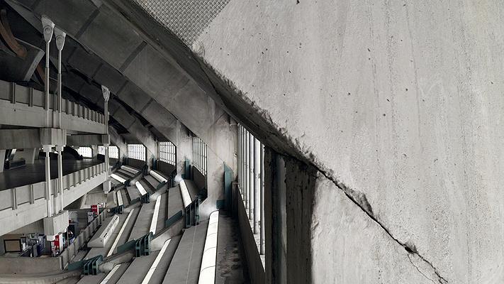 Structure intérieure du stade olympique vue par drone